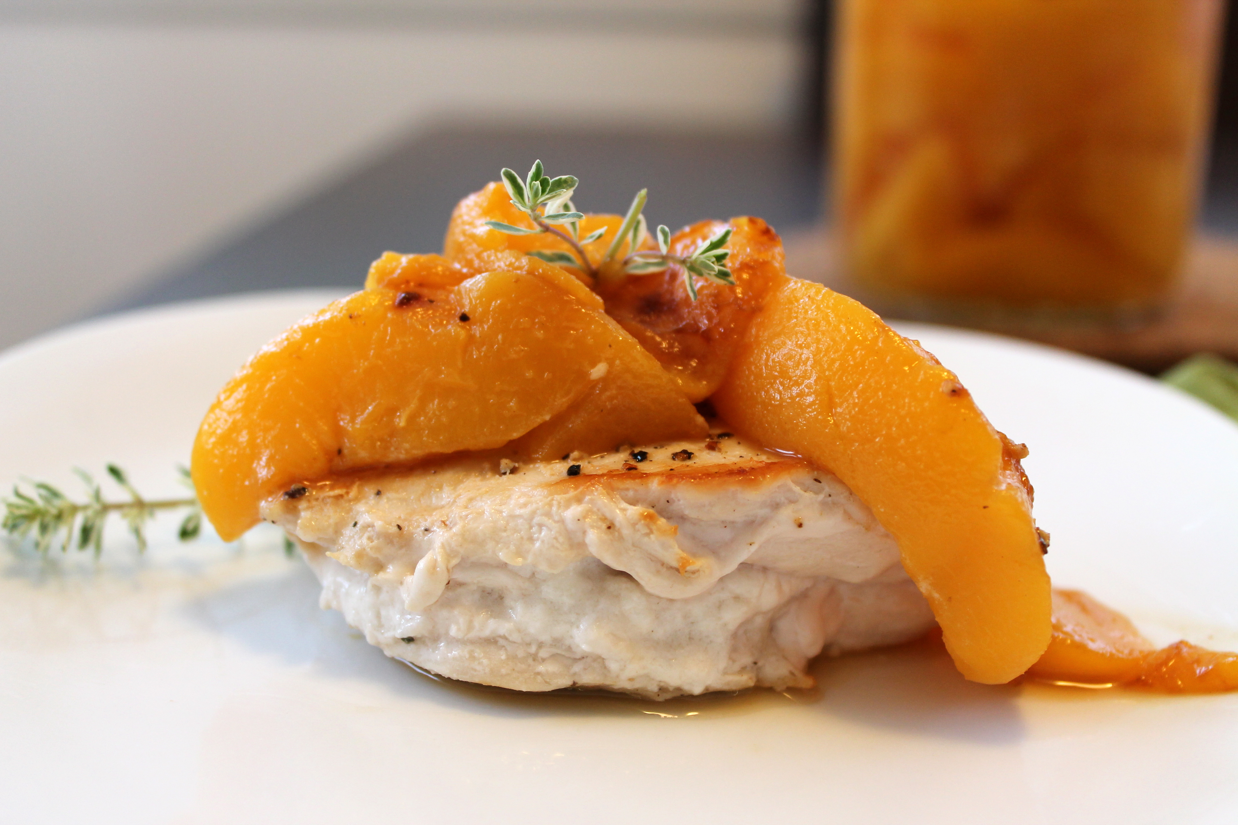 Goat Cheese Stuffed Chicken with Spiced Peaches