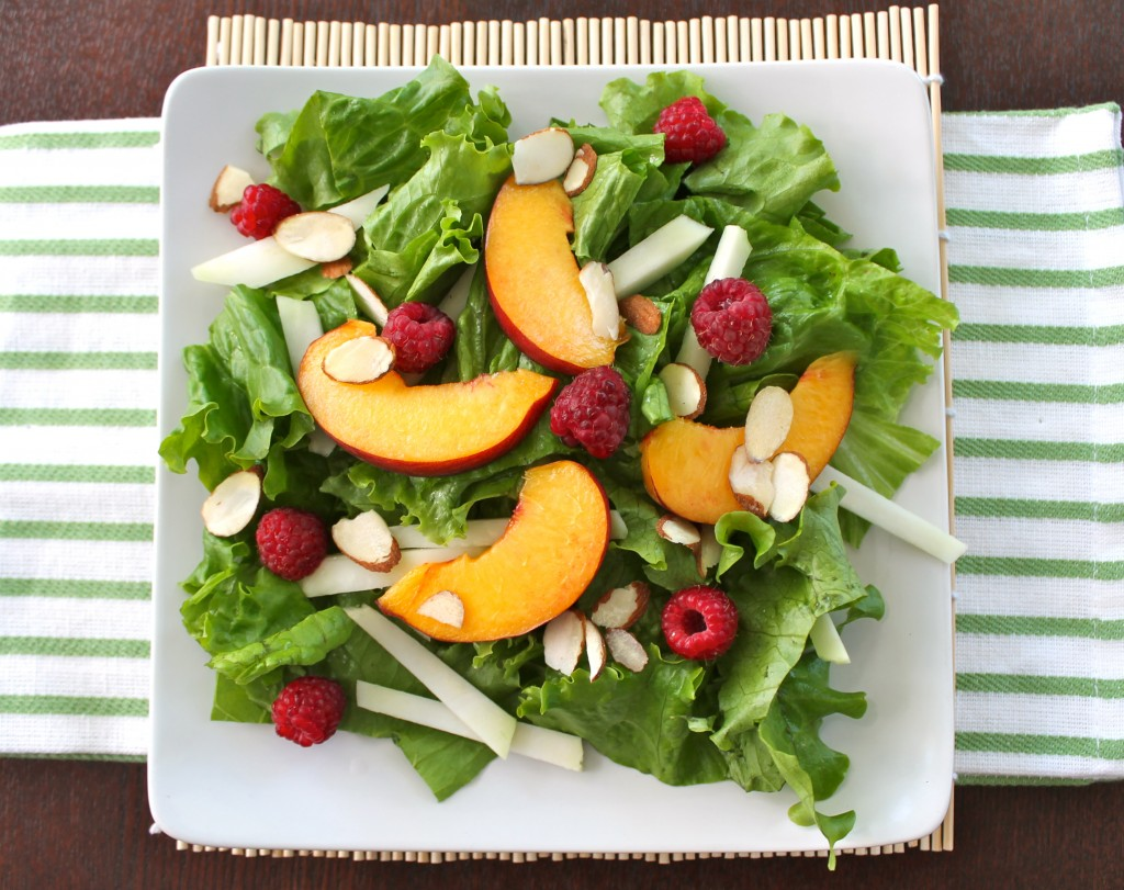 Farmers Market Salad with Peaches, Raspberries and Kohlrabi