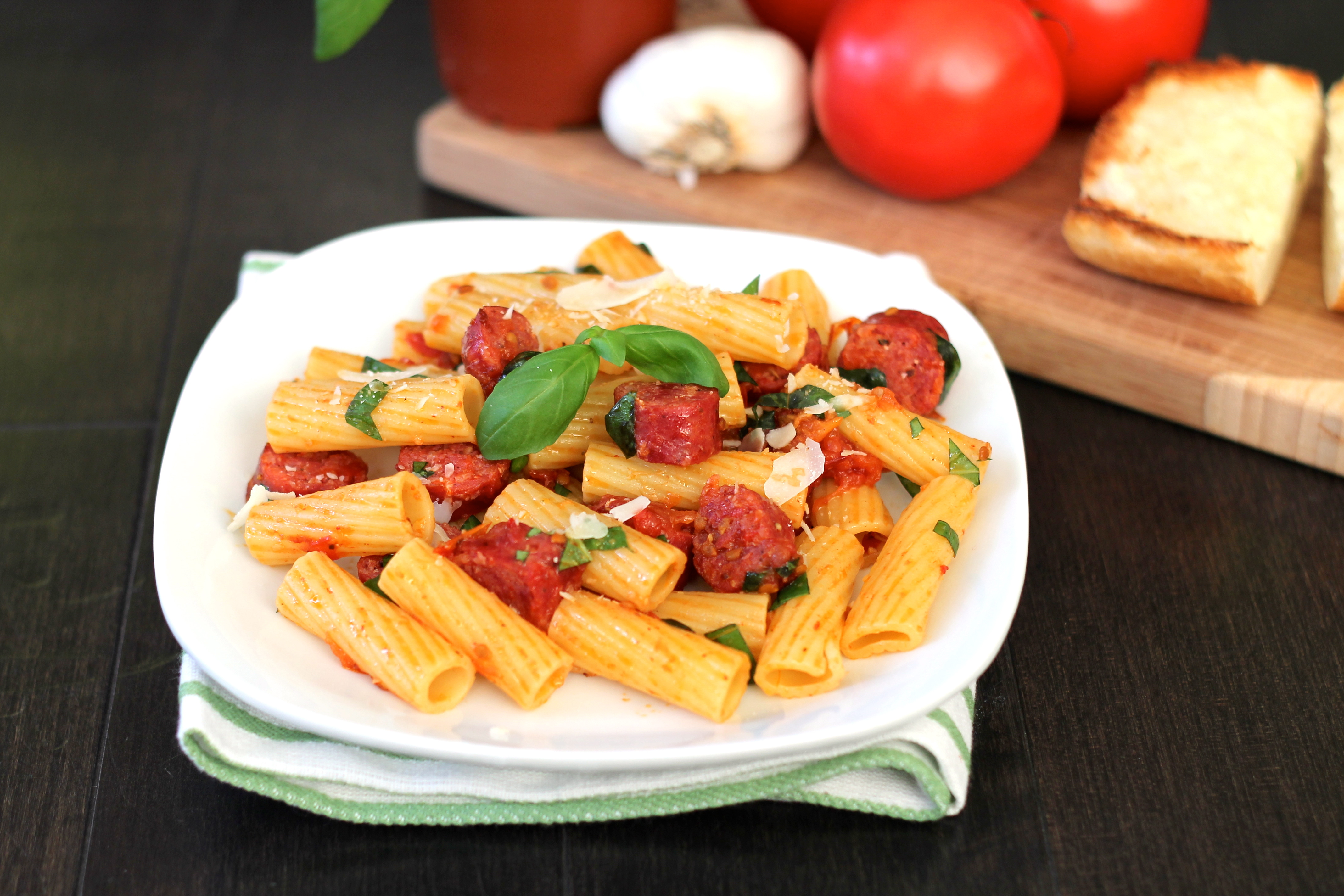 Roasted Tomato Pasta with Sausage and Fresh Basil