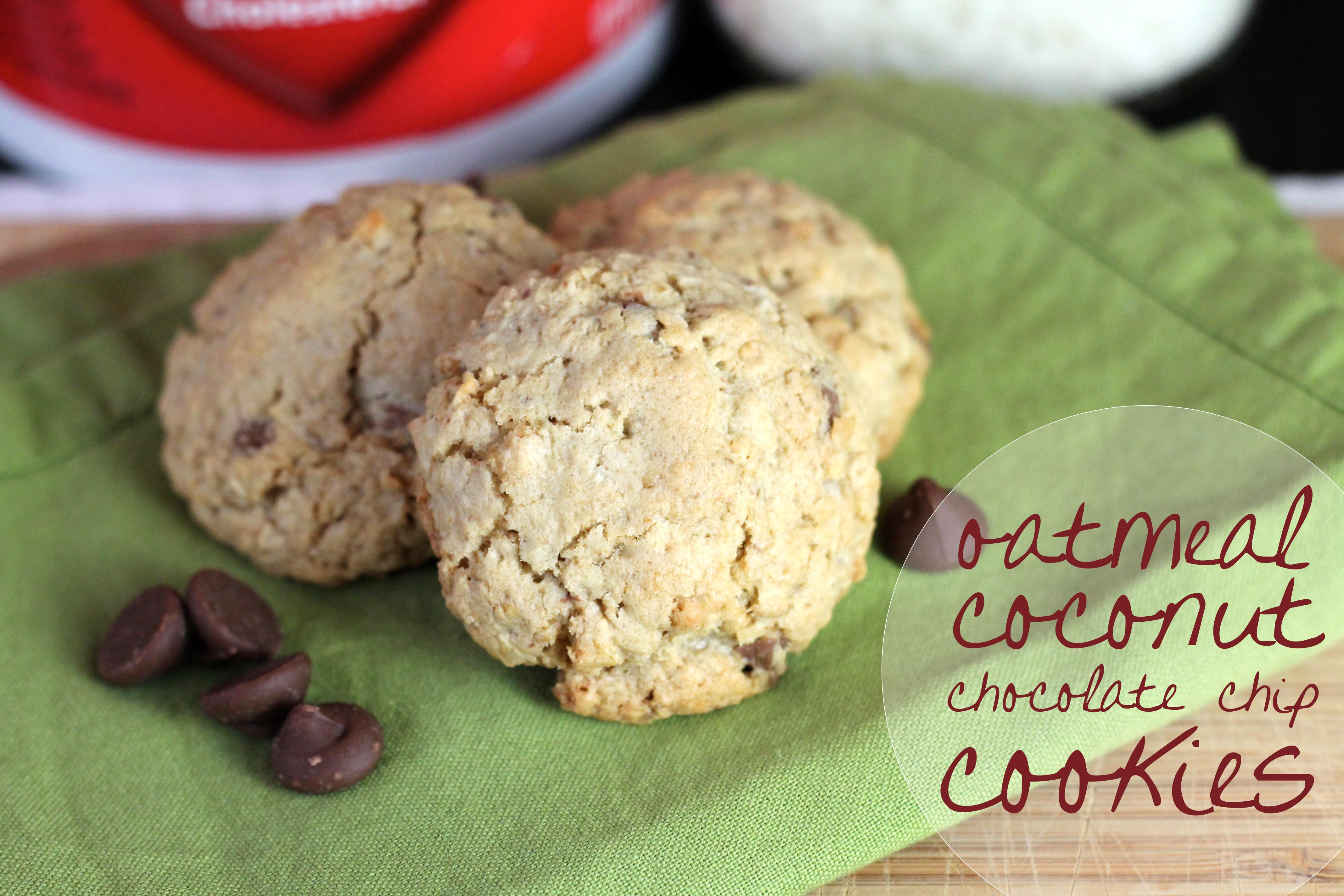 Oatmeal, Coconut and Chocolate Chip Cookies