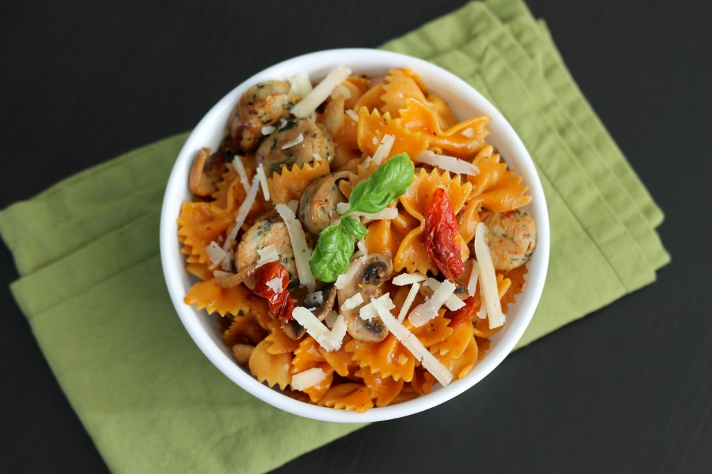 basics: pasta, tomatoes and meat. I added mushrooms and caramelized ...